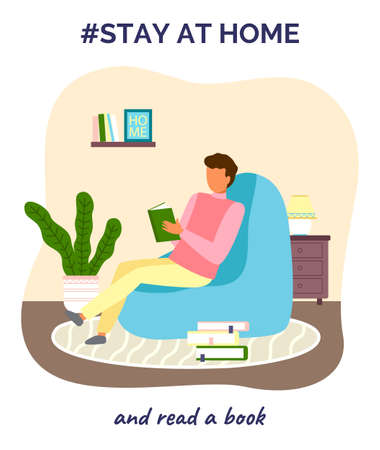 Stay at home and read book. Quarantine self-isolation at home. Prevention of covid-19 or coronavirus. Virus outbreak. Man sitting in chair with book. Home activities, leisure during world epidemic