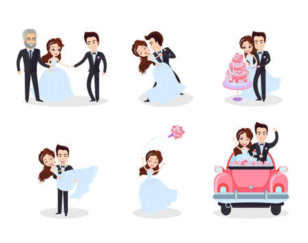 Wedding ceremony set vector, woman and man on first dance, groom and bride throwing bouquet, lady standing with parent, people in car on honeymoon