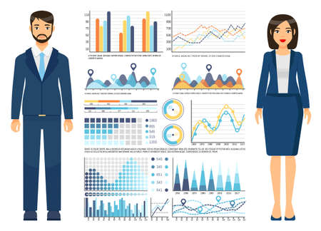 Businesswoman with businessman wearing office dresscode, suit, costume standing near graphs, charts, graphics, diagram, web analytics data, growing schedule, statistics, report. Infographic elements Illustration