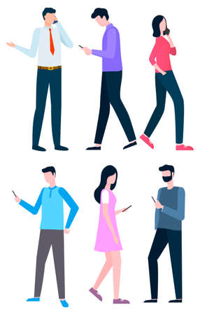 People with mobile phones vector, isolated set of characters flat style. Businessman and lady with smartphones, talking and chatting online workers