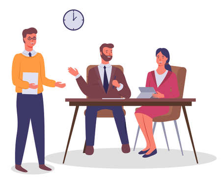 Business meeting and consideration of working issues. Office workers discussing matters. Businessmen dressed in formal clothes in the modern office interior sitting at a table. Friendly team work