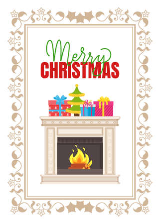 Merry Christmas, fireplace made of marble, with burning fire logs, decorated by present gifts and Xmas tree. Vector home interior furniture, in ornamental frame