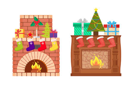 Brick and wooden fireplace with fire burning inside isolated vector icons. Decoration of home interior on Christmas, Santa stockings, fir-tree and socks