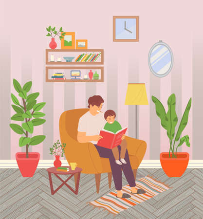 Dad reading a tale to his little son showing him interesting pictures. Happy family, dad takes care of the baby. Smiling boy sitting on dad s lap, man in armchair holding a book. Funny bedtime story