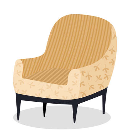 Armchair in retro cream color. Modern soft armchair with upholstery of striped cloth. Living room furniture design concept modern home interior element isolated vector. Soft chair on wooden legs