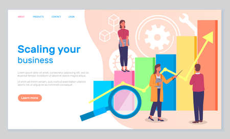 Scaling your business landing page template. Success, achievment, motivation business banner. Group of specialists develops a growth plan concept with businesswoman on graph columns and up arrow