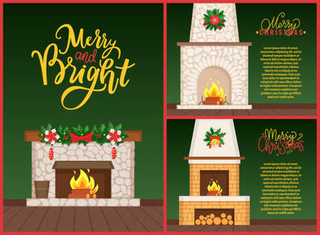 Merry and Bright Christmas, flat decorated burning fireplace with firewood on floor and hanging mistletoe with bells on top. Designer chimney vector