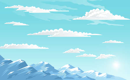 Mountains landscape, abstract blue panoramic view, vector illustration. Snow capped mountains background. Panoramic view of the mountaine landscape with snow-capped peaks on a clear bright day