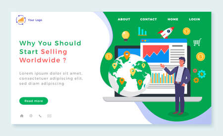 Why you should start selling worldwide landing page template. Man telling about global sales standing near opened laptop with presentation page of digital data, globe with marks. International trade