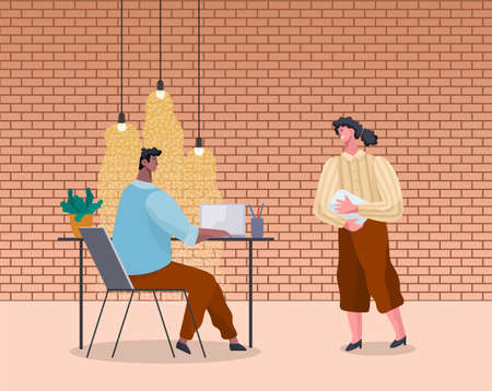 Office workers discussing matters. Businessmen dressed in formal clothes in the modern office interior with laptops talking. Business meeting and consideration of working issues. Friendly team work Illustration