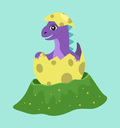 Purple dragon hatches. Animal smiles happily while sitting in a shell. Dinosaur appears from a colorful egg. Cute baby dragon looks at the world happily. Cartoon character isolated on blue background