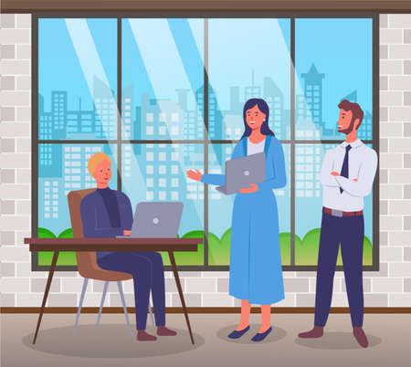 Office workers characters discussing matters. Business meeting and consideration of working issues. Consultation in the office of the chief. Business people with laptops confer in the office room Illustration