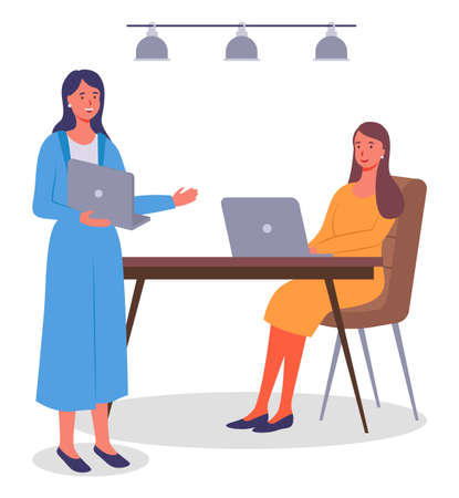 Office meeting and consideration of working affairs. Office workers women discussing project. Businesswomen dressed in formal clothes siting at the table with laptop, standing in room and talking Illustration