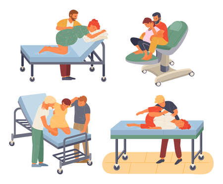 Pregnancy preparing, wife and husband make a position check in different poses. Exercising for pregnant woman, giving birth position or posture. Female character waiting for childbirth with caring man