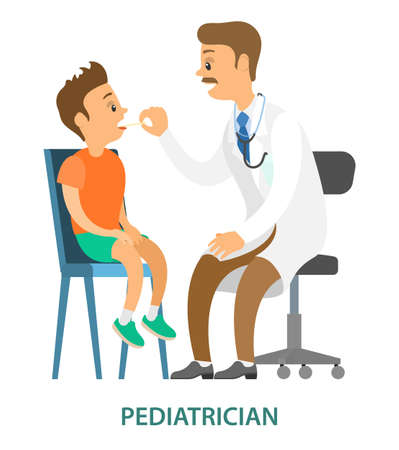 Kid on medical check-up with male pediatrician. Patient with doctor isolated on white background. Medical treatment vector illustration. Boy opens his mouth. Doctor examines throat of the patient
