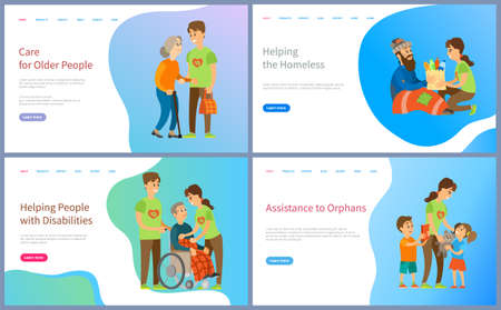 Helping people with disabilities and homeless vector, volunteers social workers caring for old lady and kids from orphan, children with toys book. Website or slider app, landing page flat style