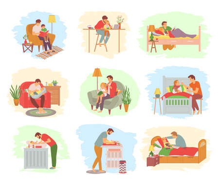 Daddy spending time with child vector, father feeding newborn kid and washing it, sickness care and treatment of kiddo, brushing hair of daughter, concept for Father day Vettoriali
