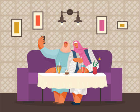 Smiling cartoon women of Arab nationality are sitting at table in cafe and taking selfie. Drinks and cake on the table. Cozy cafe design. Food and drinks. Cafe shop and people relaxing. Modern place