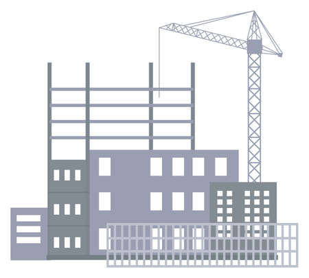 Unfinished construction site, industrial crane, metal construction of future building, isolated at white. Building city houses. Different unfinished houses fenced. Process of making urban buildings