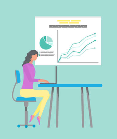 Businesswoman sitting by table with laptop vector. Secretary worker analysing infocharts on whiteboard, research of business project results on board Ilustrace