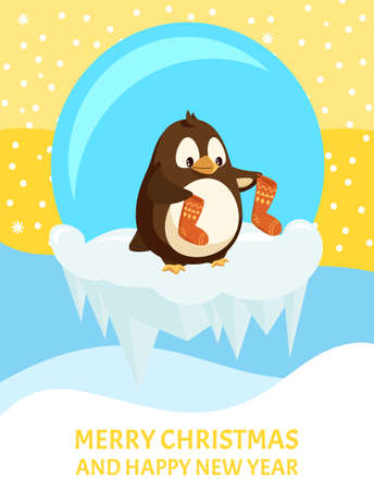 Penguin with knitted socks, Christmas greeting card. Bird in glass ball on ice floe, snowflakes and icicles. Knitwear and animal, winter holidays vector