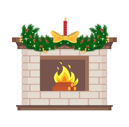 Fireplace with candle and bow decor for holiday vector. Christmas decoration with pine tree branches and snowflakes, garlands shining and fire flames