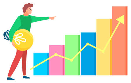 Man standing near statistics chart and looking ahead, lamp in hand. Business tools for innovations and cooperation. Vector illustration in flat style on white