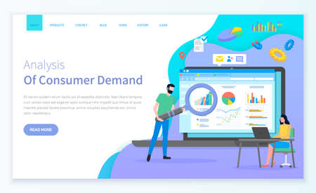 Consumer demand site template. Young woman sits at laptop. Bearded man with cartoon giant magnifying glass. Large page with analytic data, colorful chart bar, consumer research. Attract customers Vecteurs