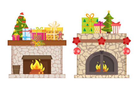Fireplace with presents and gift boxes Christmas holiday vector. Winter celebration, pine tree with baubles, stars and surprises, burning logs inside 向量圖像