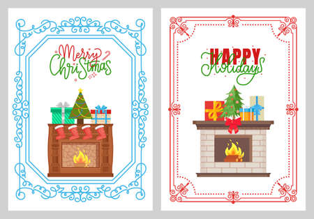 Merry Christmas flame in fireplace decorated with pine vector. Socks and evergreen tree with baubles, presents with bows, spruce for winter holiday  イラスト・ベクター素材