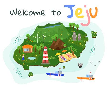 Jeju travel map. Fun in uninhabited territory. Beach resort on the island. People are resting and having fun abroad. Tourists swim and sunbathe. Postcard for advertising tourist island Jeju