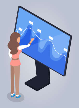 A woman, specialist or doctor is standing and studying wave-like graph on gigantic computer monitor. Research and data monitoring. Medical or business research. Blue chart. Flat isometric image.