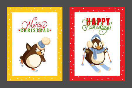 Penguin skating in warm hat. Merry Christmas and Happy New Year greeting cards. Bird in earmuffs and scarf on skis with sticks. Polar animal isolated vector
