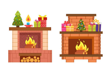 Fireplaces with decorative pine model on shelf vector. Isolated icons celebration of Christmas holiday, gift boxes with ribbons and boxes candle decor Иллюстрация