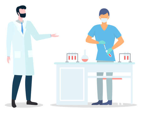 Assistant wearing face mask making scientific researches holding flask with liquid. Scientist in medical uniform working with tubes, flasks, samples. Doctor in medical gown talking with colleague