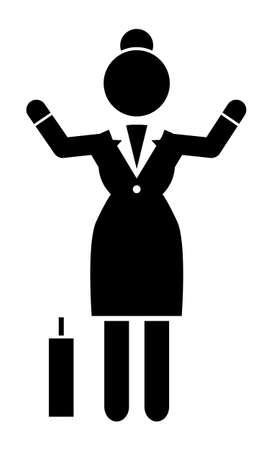Businesswoman with raised up hands gesturing, suitcase, black and white logo avatar portrait with businessperson silhouette wearing office dress, web icon. Çizim