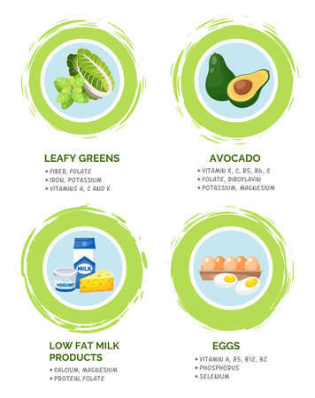 Healthy foods information poster with useful products, content of nutrients and vitamins flat vector illustration. Set of dairy products, milk yogurt and chees, eggs, avocado and leafy greens