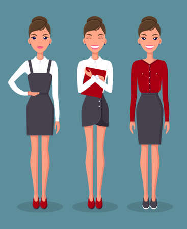 Girl in various positions and emotions on the face. Business woman set in different poses vector illustration. Pretty young slim woman character in business clothes. Cute slender female character Illusztráció