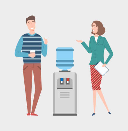 Company colleagues at work vector, break and free time, man and woman talking on different themes, water cooler in office. Woman with document page