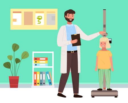 Doctor uses a stadiometer to determine the height of the child. Patient on consultation in the therapist s office. Male character communicating with little girl during diagnosis in medical institution