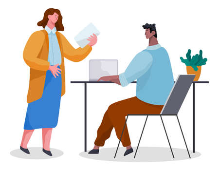 People in common workflow. Office workers characters meeting, discussing matters in cabinet . Business people woman and man dressed in formal clothes are sitting at the table with laptops and talking