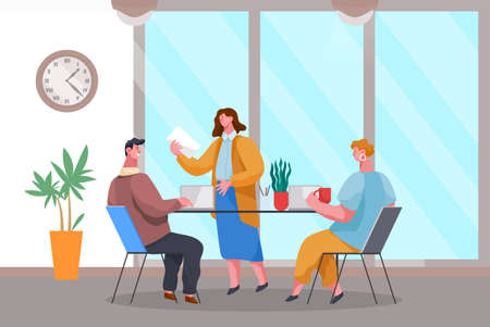 Business meeting and consideration of working issues. Friendly team work. Office workers discussing matters. Business people dressed in formal clothes in modern office interior with laptops talking