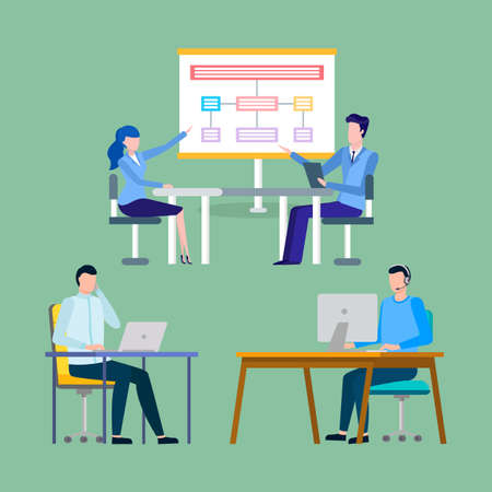 Business strategy implementation vector, man and woman at meeting thinking of business ideas. Workers with computer and laptop working in offices