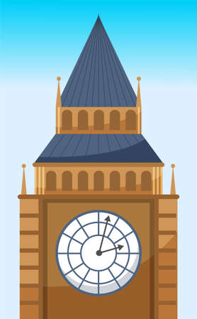 Clock tower flat vector icon of Big Ben. British tower with clock. Popular tourist attraction in London. Famous world landmark clock tower of westminster palace. The biggest watch in the world Çizim