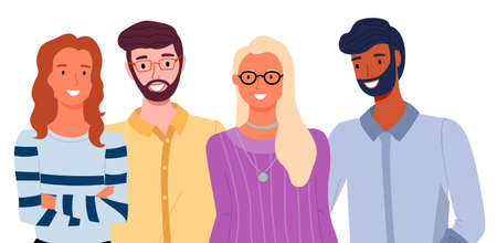 Group of fashion cartoon young people. Stylish bearded men and pretty women standing together on white background. Students of different nationalities, smiling friends. Friendly company portrait