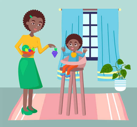 Mother feeding her baby child sitting on kids eating chair in kitchen. Black woman holding fruit gives baby. Flat style vector woman care for a child. Female character is at home on maternity leave Vecteurs