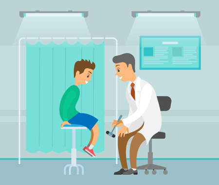 Neuropathologist examining patient use reflex hammer. People on the background of a medical screen. Boy visits therapist during regular checkup. Physician work at medical cabinet. Patient health check