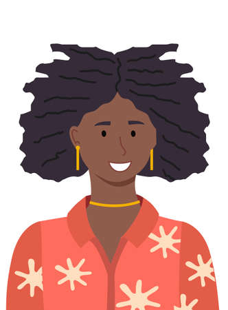 Portrait of beauty african young woman. Illustration of smiling girl in a red blouse isolated on white. Black woman with afro hairstyle. Flat vector pretty black female character with curly hair  イラスト・ベクター素材