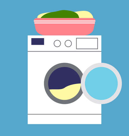Washing machine and basin with linen. Modern automatic washing machine, assistant at home flat vector illustration. Home appliance, household laundry room equipment for care of linen and clothes