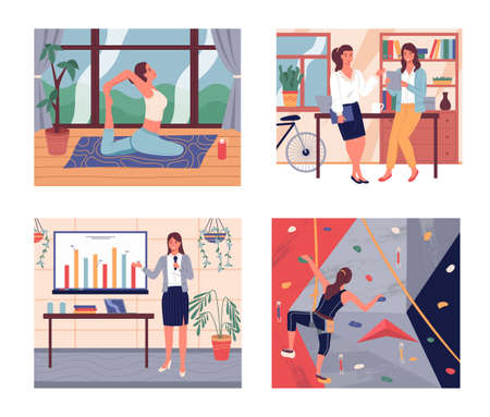 Set of confident women engaged in various business and sports activities. The girl practices yoga at home, two business women communicate in office, female gives presentation, girl climbs the wall